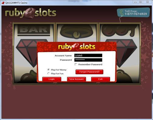 ruby slots login